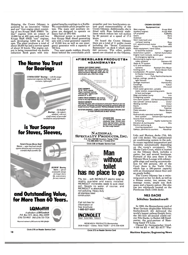 Maritime Reporter Magazine, page 16,  Jan 1989 FIBERGLASS PRODUCTS* ???GANGWAYS* SURVIVAL SUIT STORAGE CABINET