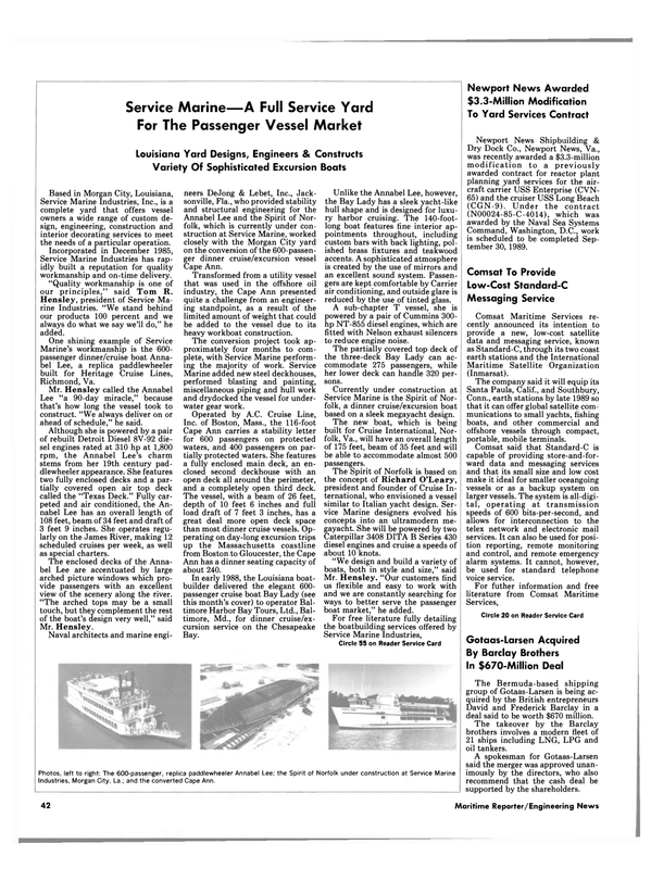 Maritime Reporter Magazine, page 38,  Jan 1989