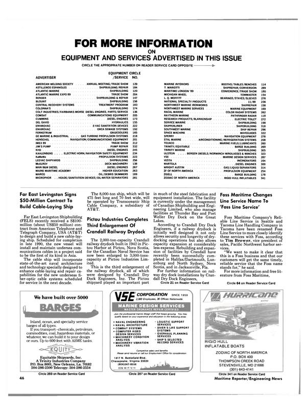Maritime Reporter Magazine, page 42,  Jan 1989