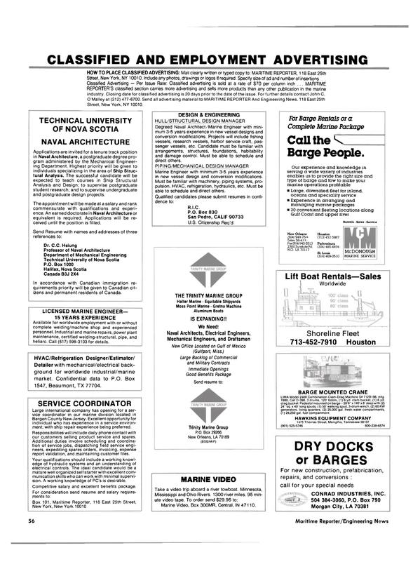 Maritime Reporter Magazine, page 50,  Jan 1989