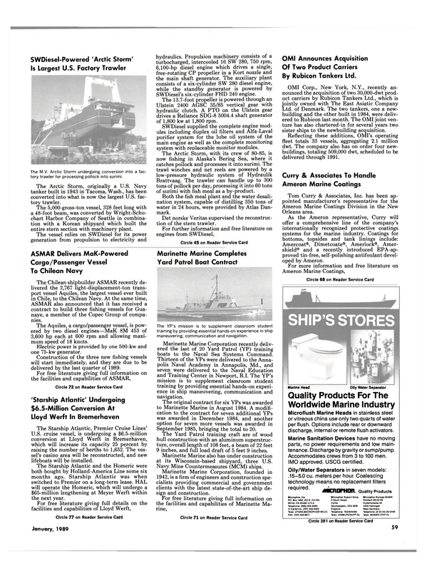 Maritime Reporter Magazine, page 53,  Jan 1989 Washington