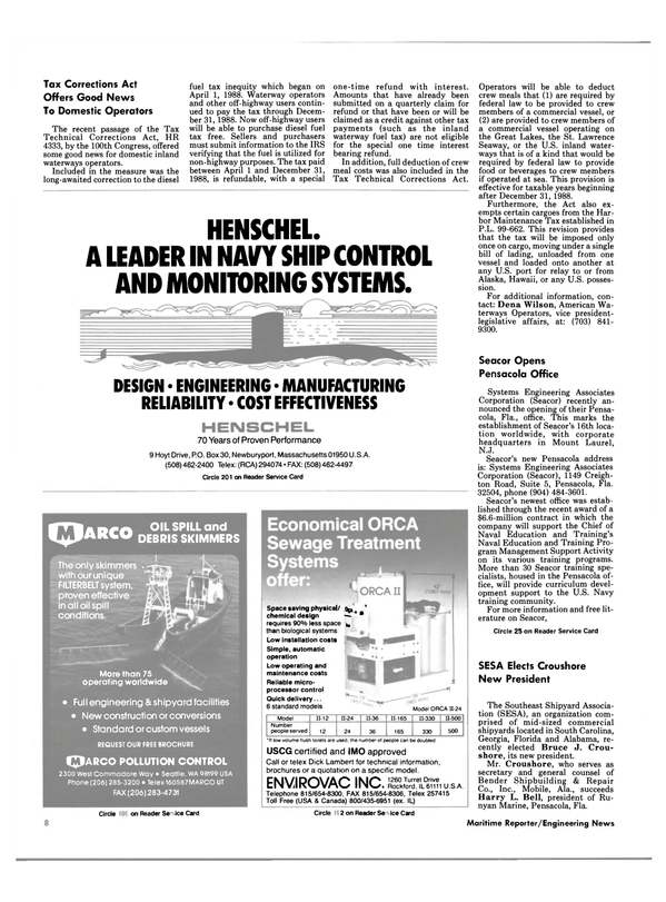Maritime Reporter Magazine, page 6,  Jan 1989