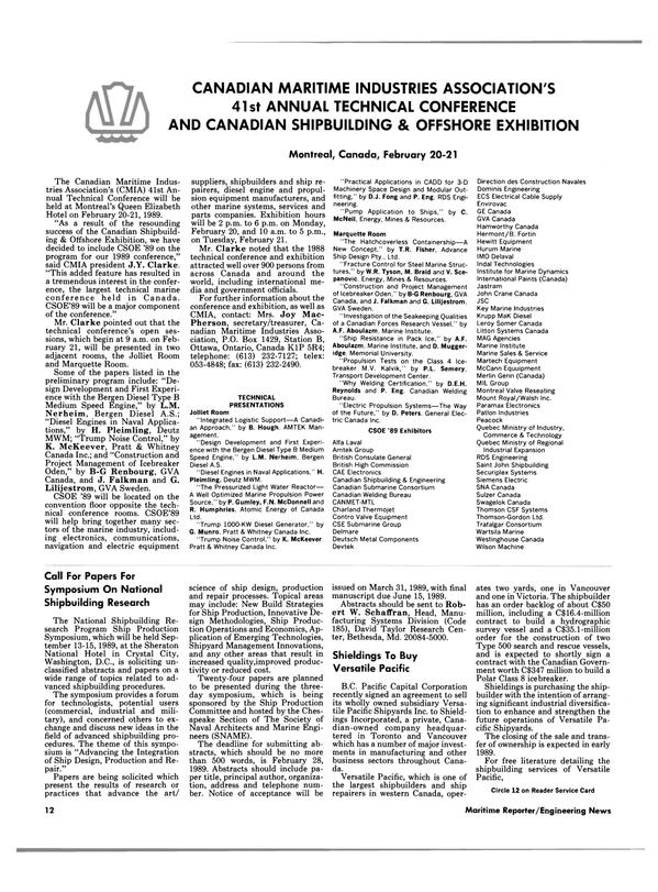 Maritime Reporter Magazine, page 10,  Feb 1989