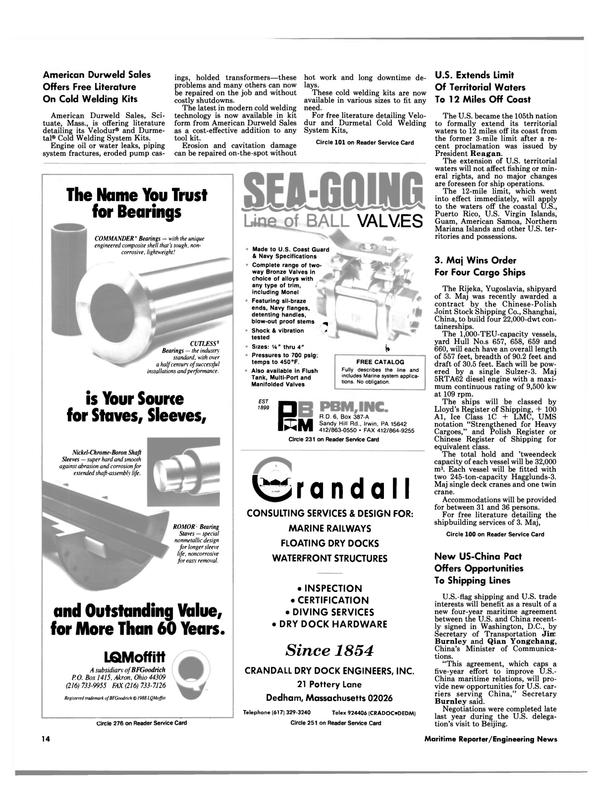 Maritime Reporter Magazine, page 12,  Feb 1989 Massachusetts