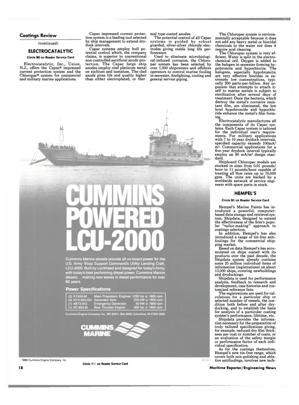 Maritime Reporter Magazine, page 16,  Feb 1989 marine applications