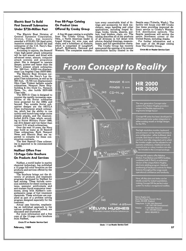 Maritime Reporter Magazine, page 55,  Feb 1989 Washington