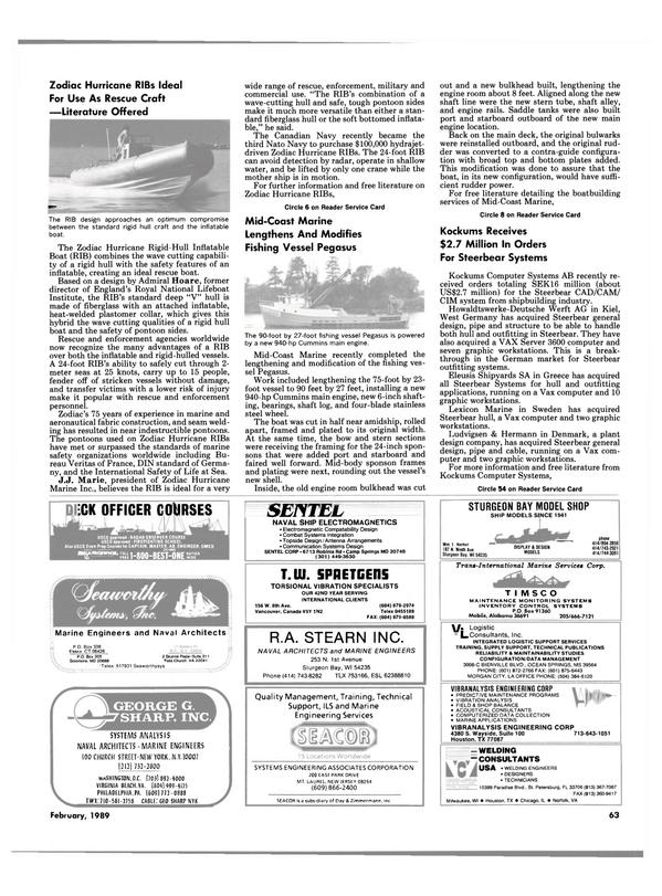 Maritime Reporter Magazine, page 61,  Feb 1989