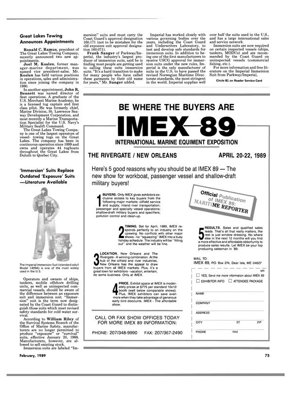 Maritime Reporter Magazine, page 71,  Feb 1989 Ronald C. Ramus
