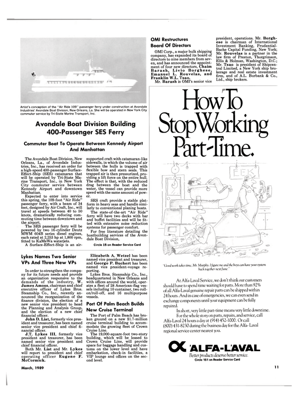 Maritime Reporter Magazine, page 11,  Mar 1989 Avondale Boat Division Building 400
