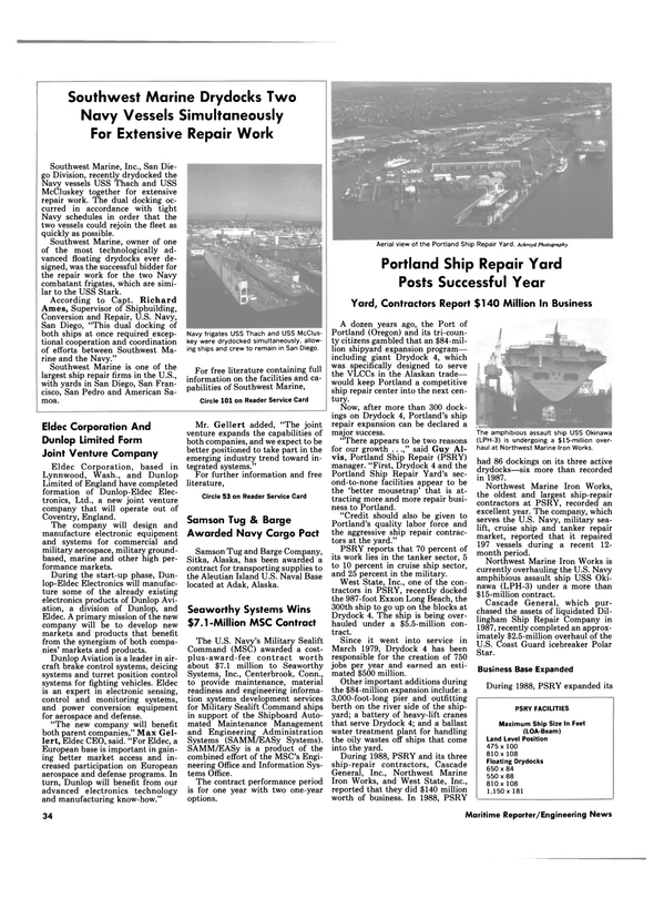 Maritime Reporter Magazine, page 34,  Mar 1989 Connecticut