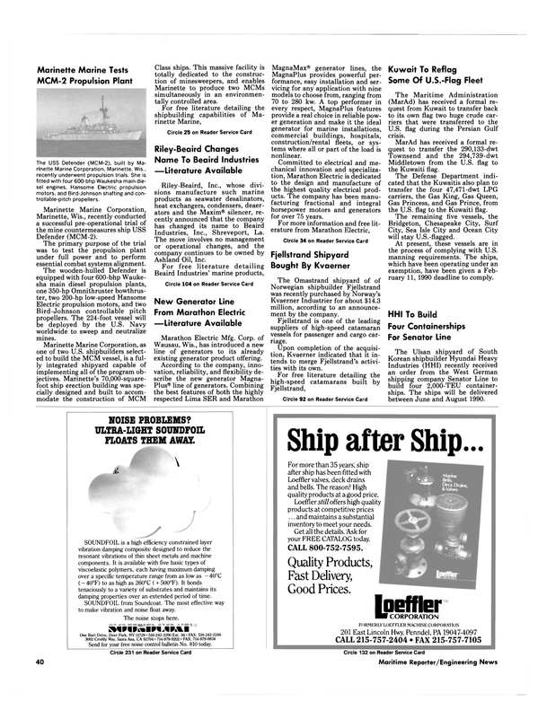 Maritime Reporter Magazine, page 40,  Mar 1989