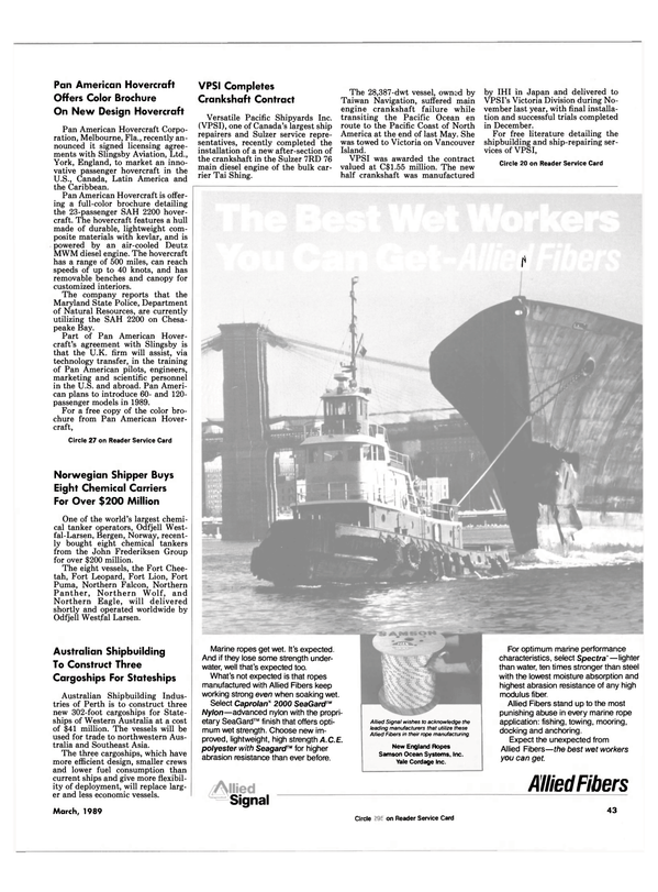 Maritime Reporter Magazine, page 43,  Mar 1989