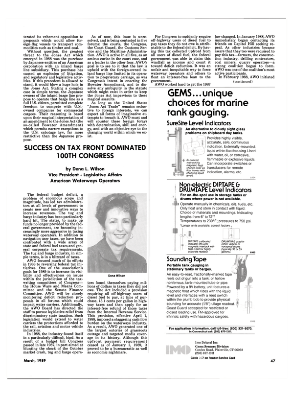 Maritime Reporter Magazine, page 47,  Mar 1989