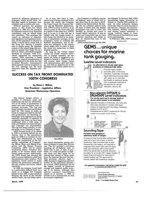 Maritime Reporter Magazine, page 47,  Mar 1989