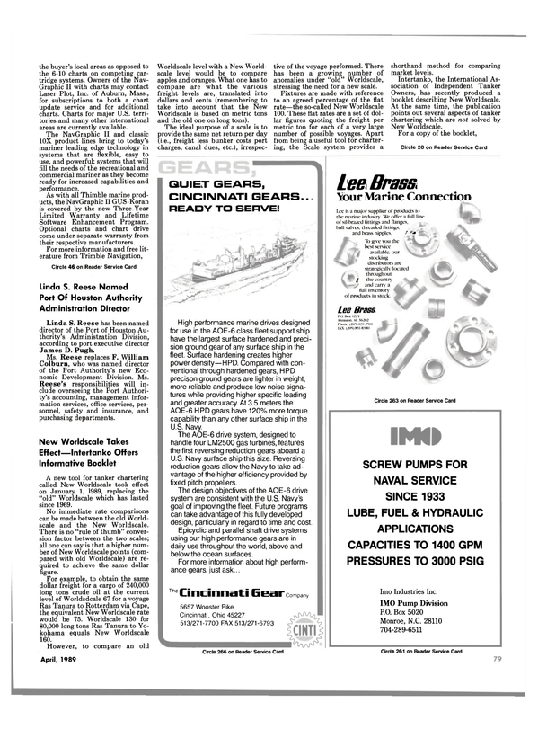 Maritime Reporter Magazine, page 77,  Apr 1989