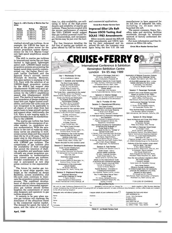 Maritime Reporter Magazine, page 81,  Apr 1989 New York