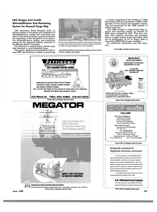 Maritime Reporter Magazine, page 101,  Jun 1989