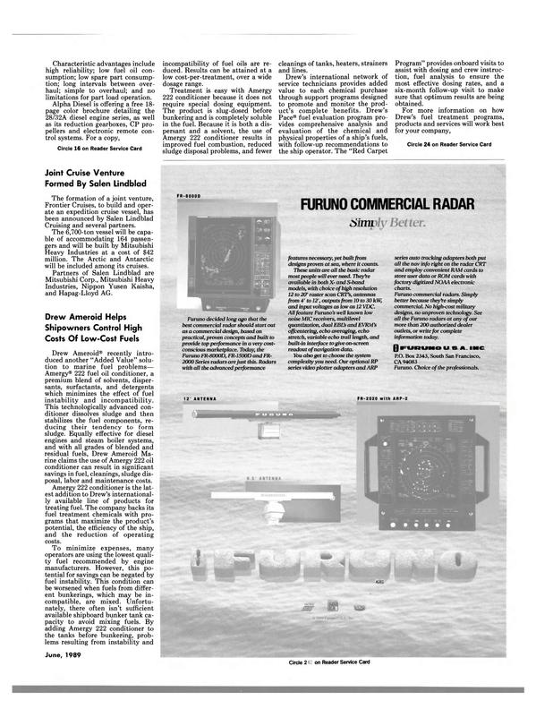 Maritime Reporter Magazine, page 89,  Jun 1989