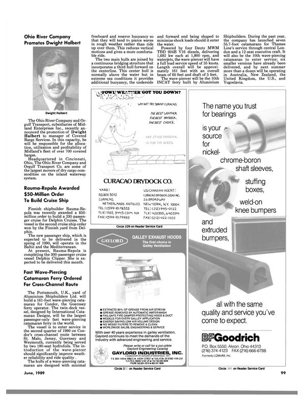 Maritime Reporter Magazine, page 95,  Jun 1989