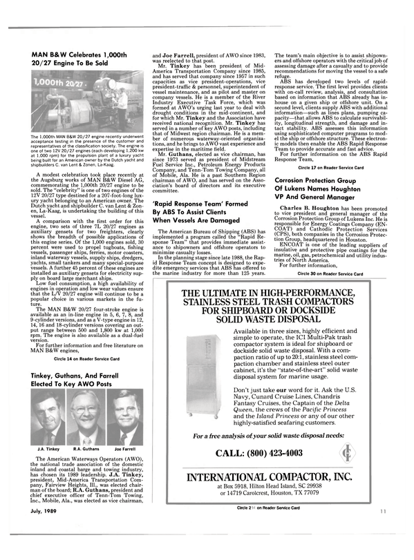 Maritime Reporter Magazine, page 9,  Jul 1989