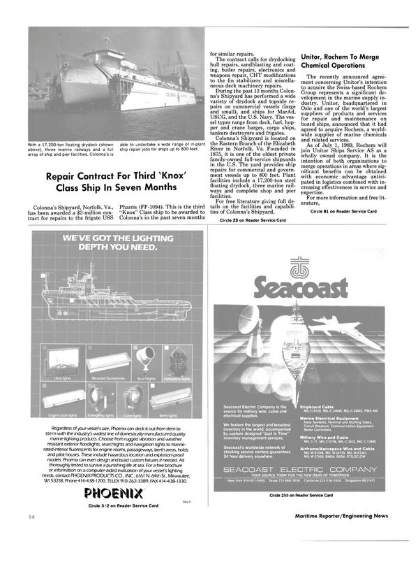 Maritime Reporter Magazine, page 12,  Jul 1989