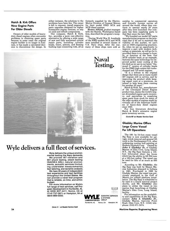Maritime Reporter Magazine, page 24,  Oct 1989 Washington