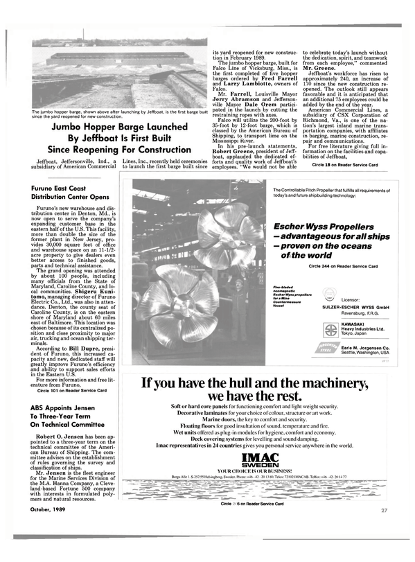 Maritime Reporter Magazine, page 27,  Oct 1989