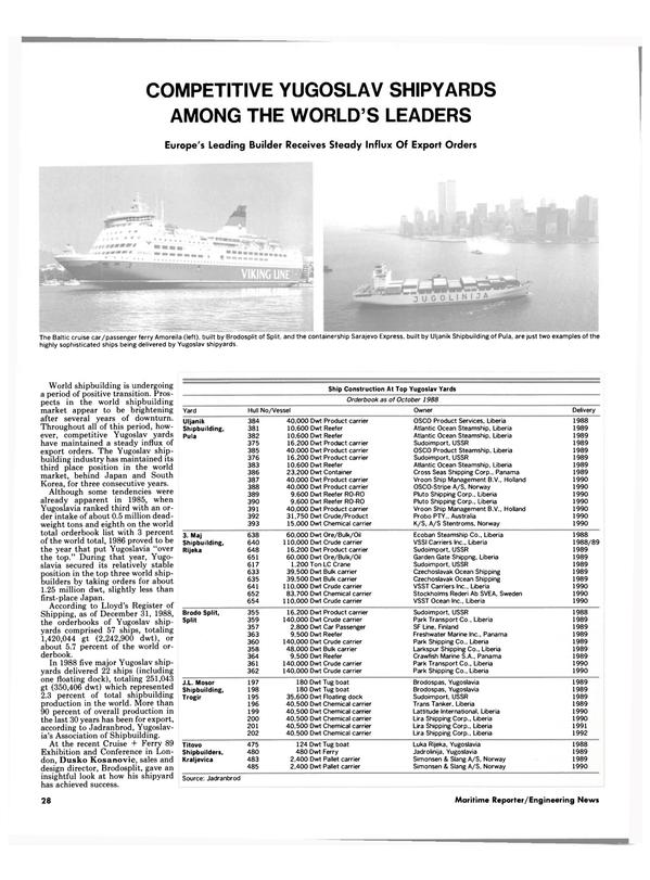 Maritime Reporter Magazine, page 28,  Oct 1989 Dwt Floating dock Sudoimport