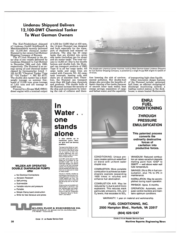 Maritime Reporter Magazine, page 38,  Oct 1989