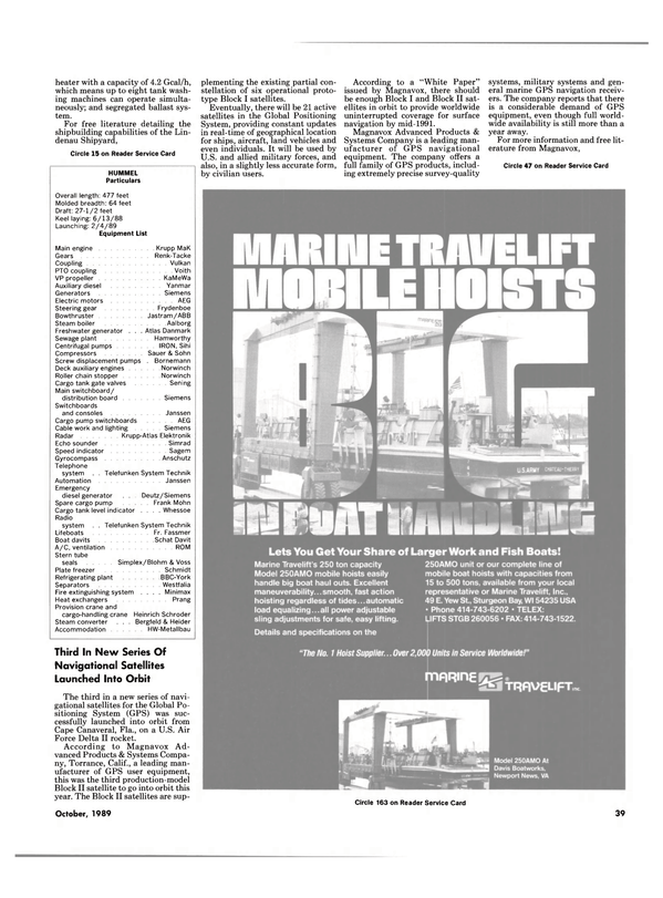 Maritime Reporter Magazine, page 39,  Oct 1989