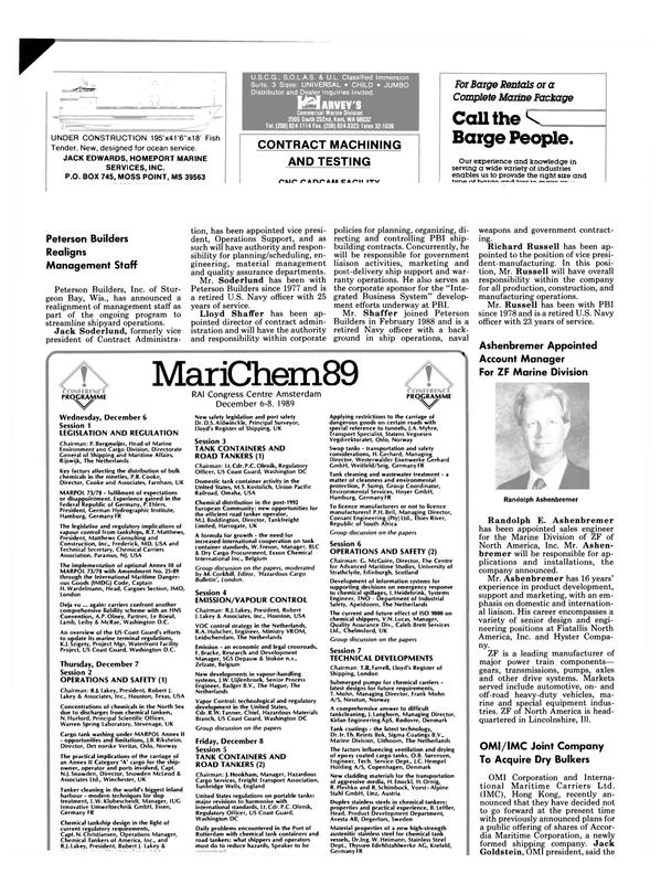 Maritime Reporter Magazine, page 62,  Oct 1989