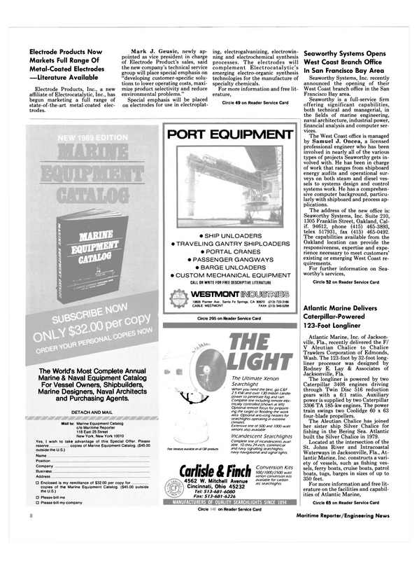 Maritime Reporter Magazine, page 6,  Oct 1989