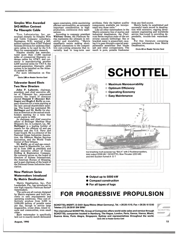 Maritime Reporter Magazine, page 13,  Aug 1990