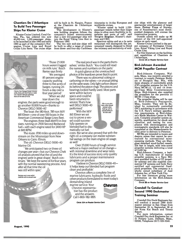 Maritime Reporter Magazine, page 23,  Aug 1990 Florida