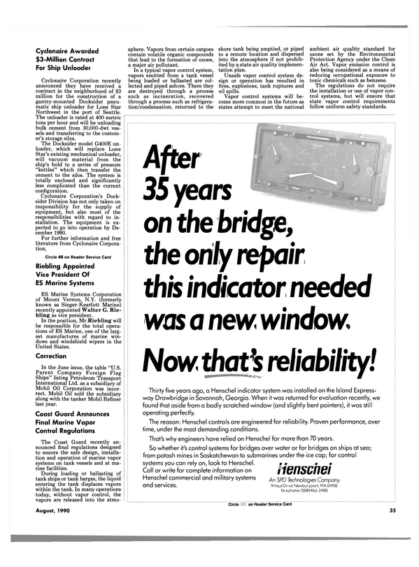 Maritime Reporter Magazine, page 35,  Aug 1990