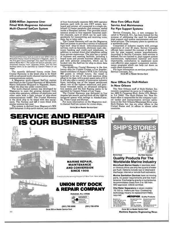Maritime Reporter Magazine, page 44,  Aug 1990