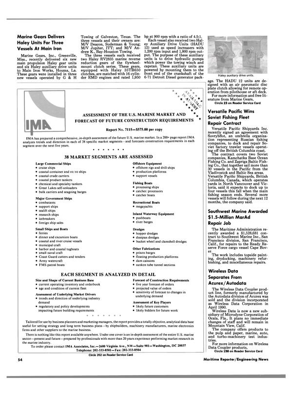 Maritime Reporter Magazine, page 54,  Aug 1990