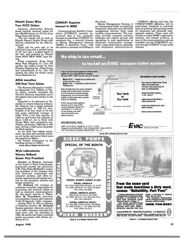 Maritime Reporter Magazine, page 55,  Aug 1990