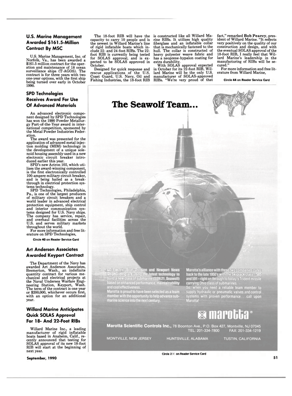 Maritime Reporter Magazine, page 49,  Sep 1990