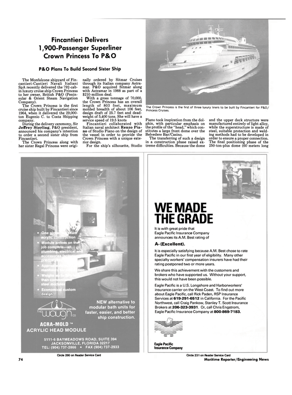 Maritime Reporter Magazine, page 72,  Sep 1990 California