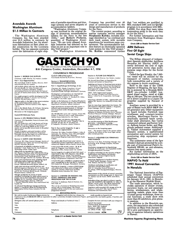 Maritime Reporter Magazine, page 74,  Sep 1990 gas technology