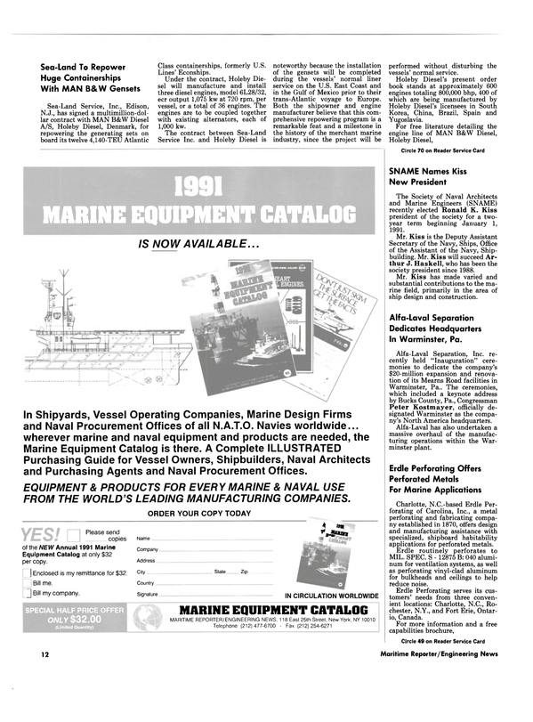 Maritime Reporter Magazine, page 10,  Dec 1990 the NEW Annual