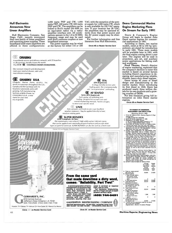 Maritime Reporter Magazine, page 48,  Dec 1990