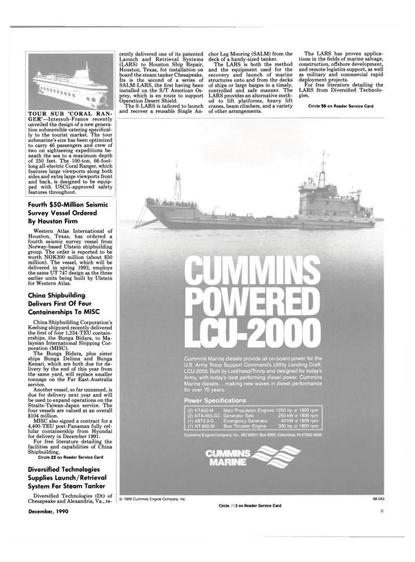 Maritime Reporter Magazine, page 7,  Dec 1990 Retrieval System