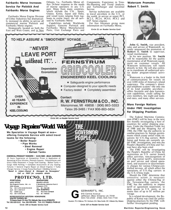 Maritime Reporter Magazine, page 10,  Jan 1991 Fairbanks Morse Increases Service For Pielstick And Fairbanks Morse Engines Fairbanks Morse Engine Division of Coltec Industries