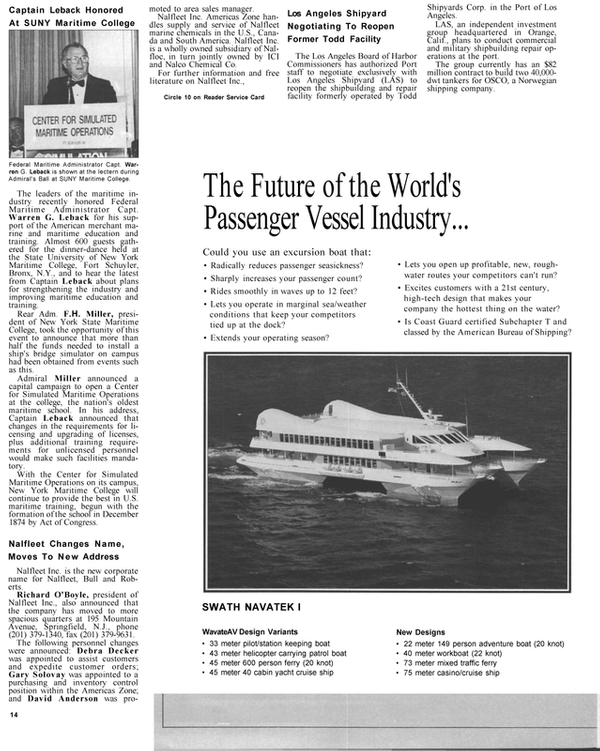 Maritime Reporter Magazine, page 12,  Jan 1991 Richard O