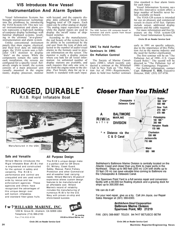 Maritime Reporter Magazine, page 24,  Jan 1991