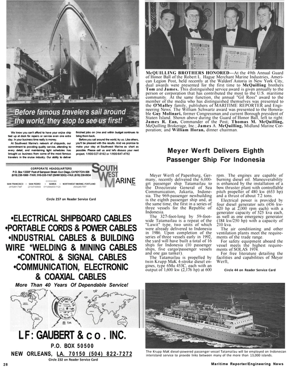Maritime Reporter Magazine, page 26,  Jan 1991 James R. Ean