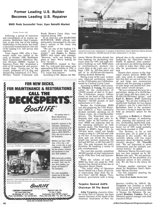 Maritime Reporter Magazine, page 42,  Jan 1991