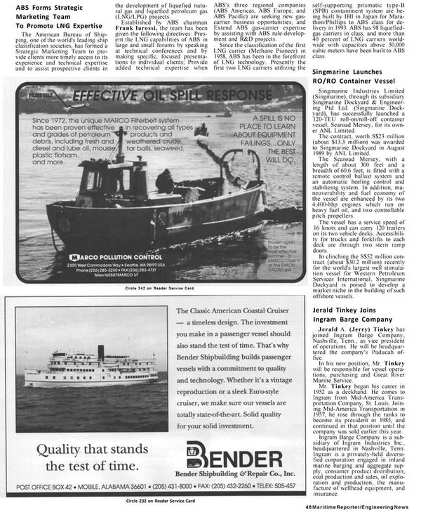 Maritime Reporter Magazine, page 46,  Jan 1991 Provide